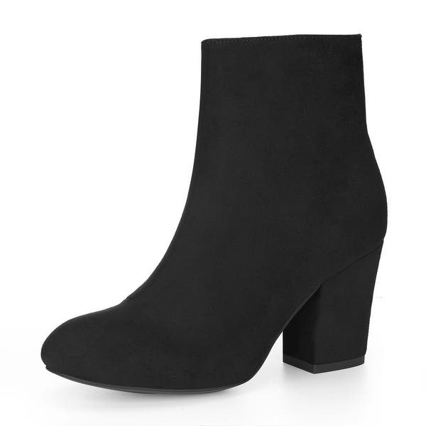 Women Suede Booties Low Heel Block Ankle Boots Chunky Round Toe Zip Shoes Size