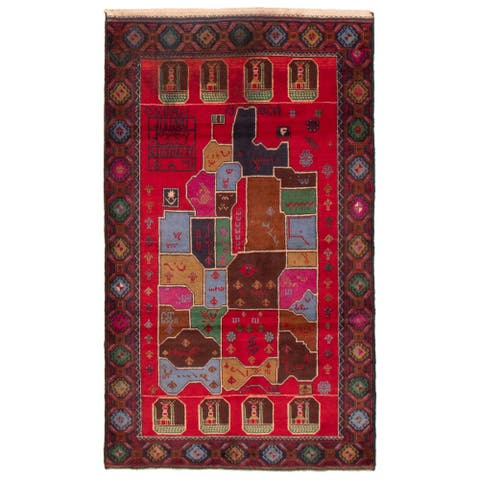 ECARPETGALLERY Hand-knotted Teimani Red Wool Rug - 3'11 x 6'8