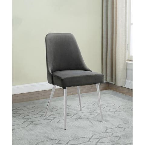 Lasher Grey and Chrome Padded Side Chairs (Set of 2)