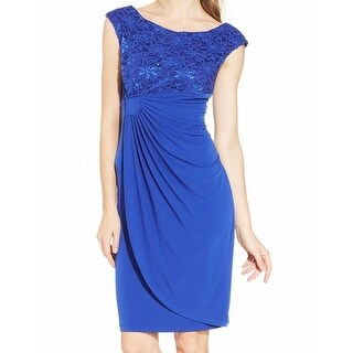 Connected Apparel NEW Blue Women's 12 Floral Lace Sequin Sheath Dress