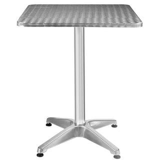 Costway 23 1/2u0027u0027 Patio Pub Restaurant Adjustable Aluminum Stainless Steel  Square Table