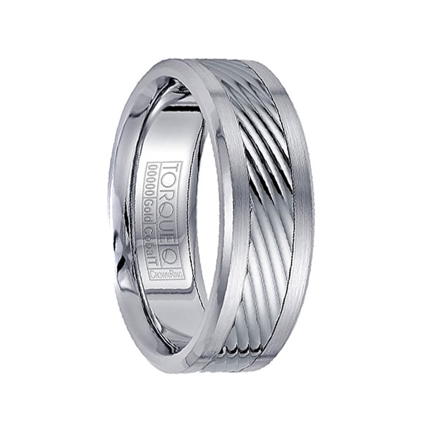 Brushed White Cobalt Men's Wedding Band with 14k White Gold Grooved Center by Crown Ring - 7.5mm