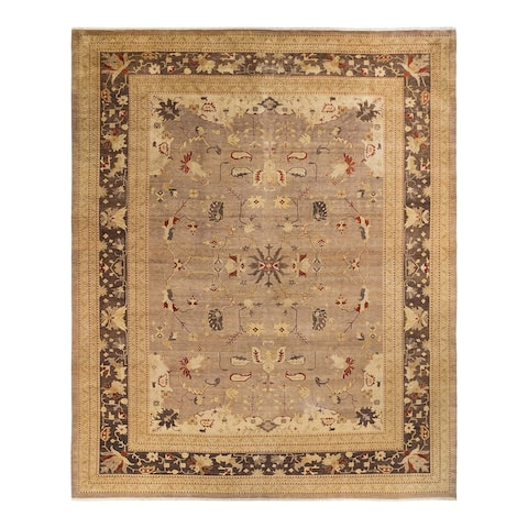 """Eclectic, One-of-a-Kind Handmade Area Rug - Light Gray, 12' 2"""" x 15' 1"""" - 12' 2"""" x 15' 1"""""""