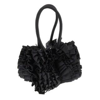 Scheilan Black Fabric Ruffled Top Handle Bag