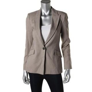 Zara Basic Womens Houndstooth Long Sleeves One-Button Blazer - M