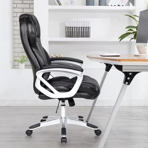 Black Leather Ergonomic High Back Executive Office Chair Tilt With Arm Manager Conference Room Padded Boss Comfortable