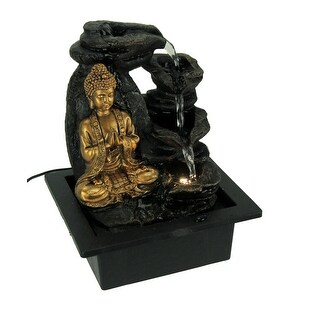 Buddha Greeting and Teaching LED Lighted Tabletop Fountain