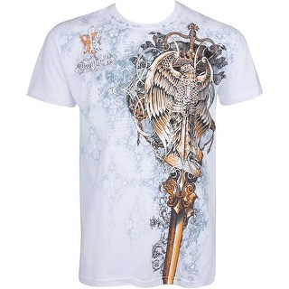 Eagle Perched on a Sword Short Sleeve Crew Neck Men T-Shirt, White XX-Large
