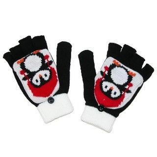 Aquarius Kids' Penguin Knit Glommit Convertible Glove - Black - One Size