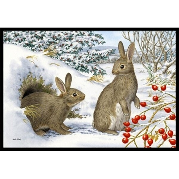 Carolines Treasures ASA2181JMAT Winter Rabbits Indoor or Outdoor Mat 24 x 36