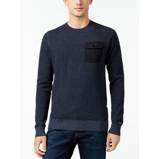 Tommy Hilfiger Mens Pullover Sweater Heathered Pocket - S