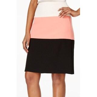 Kasper NEW Black Pink Women's Size 16P Petite Straight Pencil Skirt