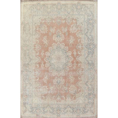 """Floral Distressed Kerman Persian Area Rug Hand-knotted Wool Carpet - 9'8"""" x 12'9"""""""
