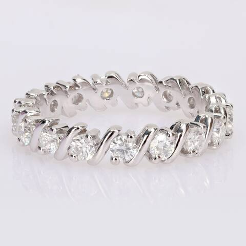 Miadora 1ct DEW Moissanite Full-Eternity Band in Sterling Silver
