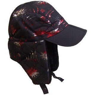 NICE CAPS Girls Quilted Ski Hat With Magical Brim - black/shiny print