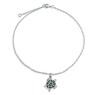 Bling Jewelry 925 Silver Green Enamel Nautical Turtle Charm Anklet 9in