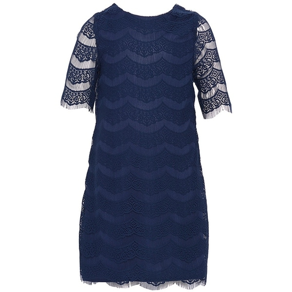 8b120ef1dd5 Shop Rare Editions Little Girls Navy Lace Detailing Designer Dress 4 - Free  Shipping On Orders Over  45 - Overstock - 19293946