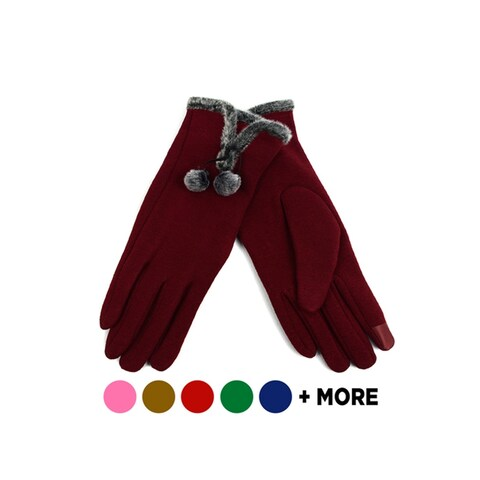 Women's Stylish Touch Screen Gloves with Fur Trim & Fleece Lining