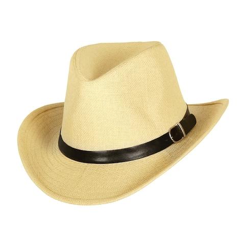 Top Headwear Paper Braid Cowboy Hat w/ Buckle Band