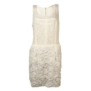 RACHEL Rachel Roy Women's Illusion Lace Rosette Sheath Dress - Chalk - 10