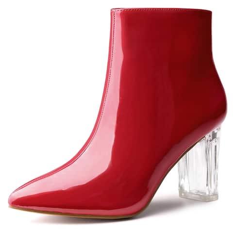 Allegra K Women's Clear Chunky Heel Ankle Boots