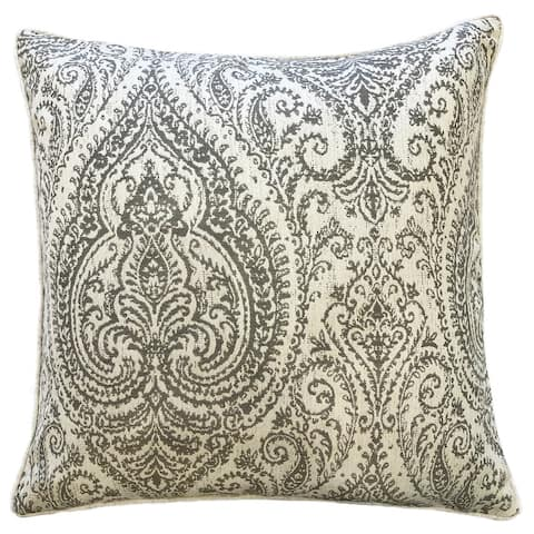 Rodeo Home Polina Traditional Damask Linen Throw Pillow