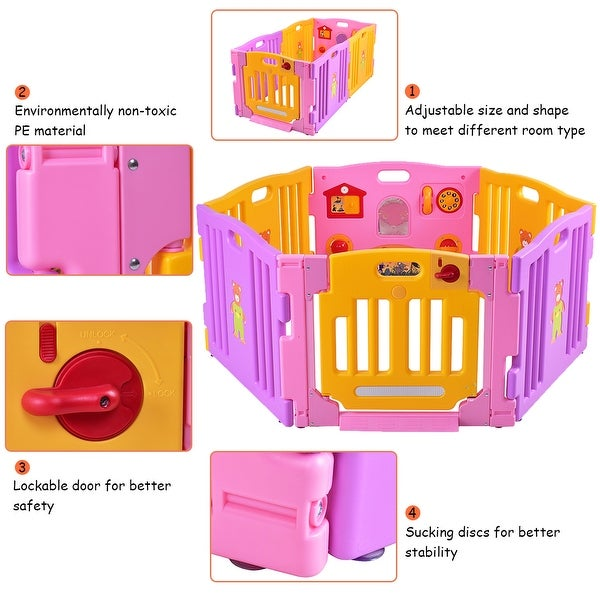 Outdoor 8 Panel Baby Playpen Kids Home Indoor Safety Lock Play Center Yard Pink