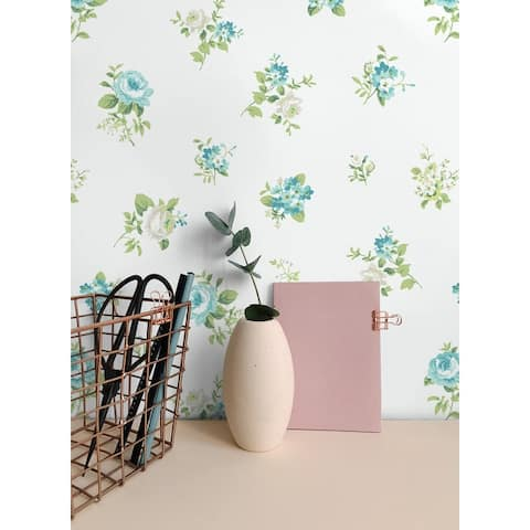 Seabrook Designs Tossed Boutonniere Floral Unpasted Wallpaper