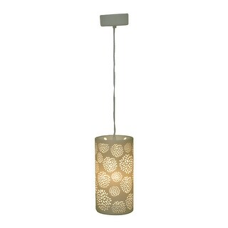 In Bloom Classic White Porcelain Floral Cutout Design Pendant Lamp 10.5 Inch