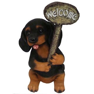 """15.5"""" LED Lighted Solar Powered Dark Puppy Dog with Welcome Sign Figure"""