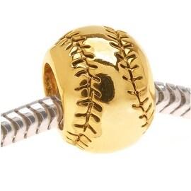 22K Gold Plated Baseball Or Softball - European Style Large Hole Bead (1)