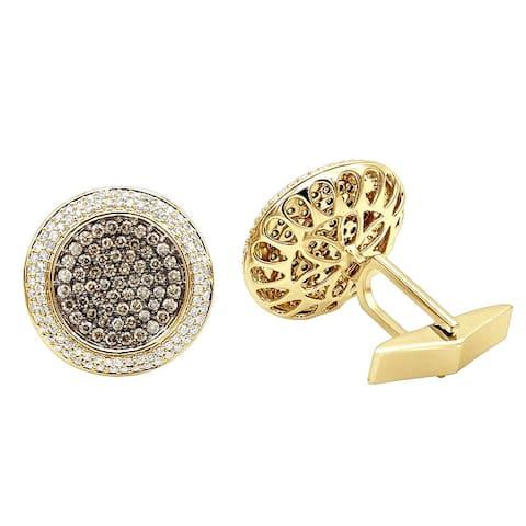 Mens White & Champagne Diamond Cufflinks 1.9ctw in 14k Gold by Luxurman
