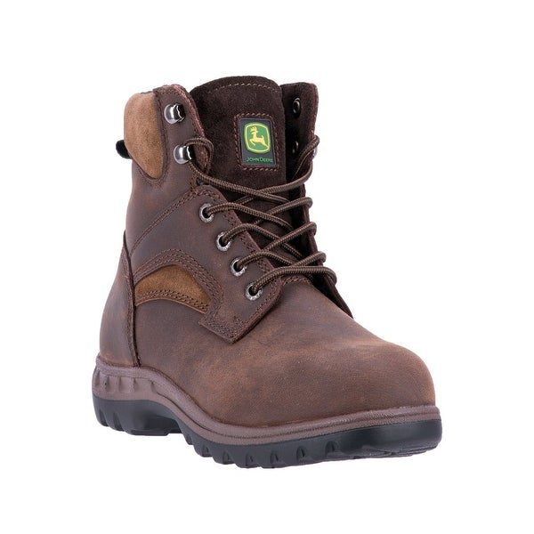 John Deere Work Boots Womens Lace PU Crazy Horse Dark Brown