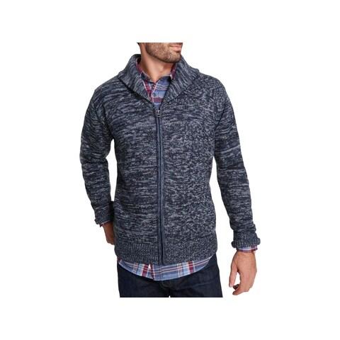Weatherproof Mens Cardigan Sweater Shawl Collar Knit - L