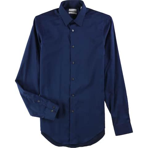 "Calvin Klein Mens Solid Non-Iron Button Up Dress Shirt, blue, 15"" Neck 34""-35"" Sleeve - 15"" Neck 34""-35"" Sleeve"