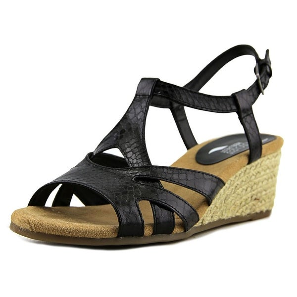 Aerosoles Outer Space Women Open Toe Synthetic Black Wedge Sandal