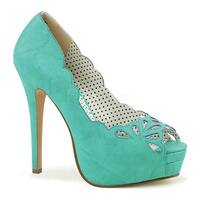 Pin Up Couture Women's Bella 30 Platform Peep-Toe Pump Teal Faux Leather