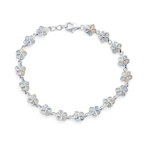 Plumeria Hawaiian Flower White Created Opal Link Bracelet Silver