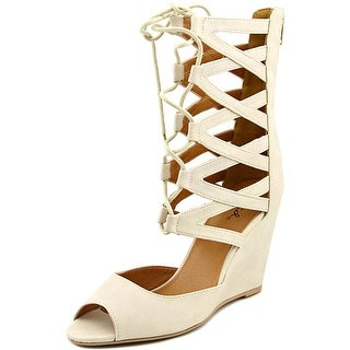 Qupid Flix-47 Women Open Toe Synthetic Nude Wedge Sandal