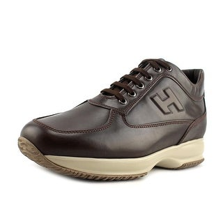 Hogan Interactive Uomo H Rilievo Men Round Toe Leather Brown Sneakers