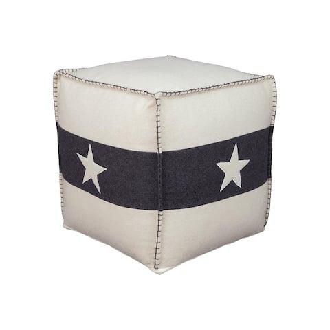 Leonardo Americana White/Black Star Applique Pouf