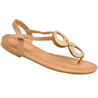 Adult Taupe Metallic Detail Thong Strap Flip Flop Trendy Sandals