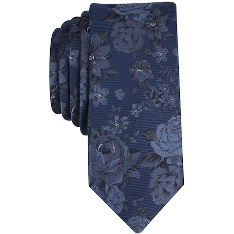 bar III Mens Thalia Floral Self-tied Necktie, blue, One Size - One Size