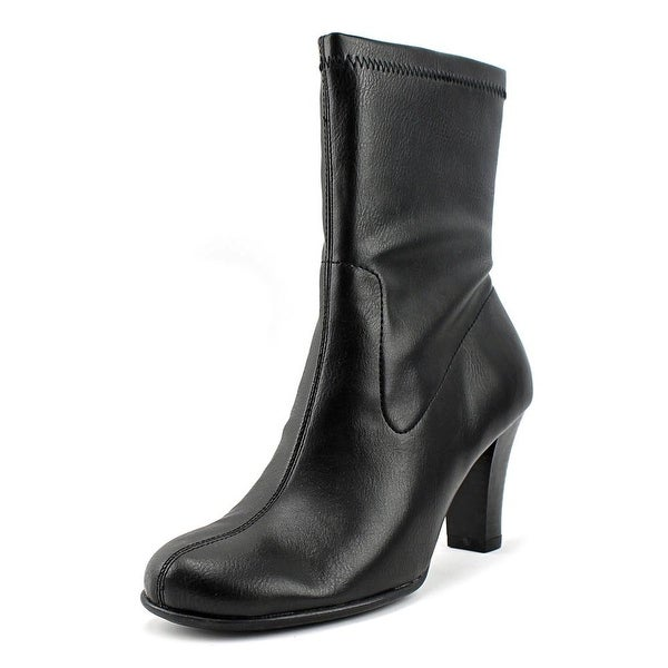 Aerosoles Hydrolic Women W Round Toe Leather Black Mid Calf Boot