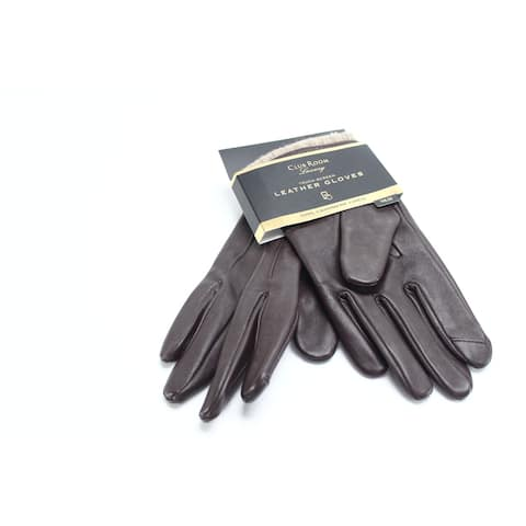 Club Room Men's Brown Size Medium M Touch Screen Winter Gloves Leather