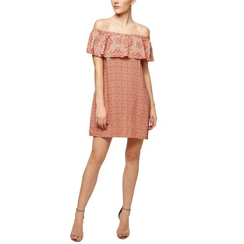 Sanctuary Misha Printed Off The Shoulder Dress Sun Bleached Tile
