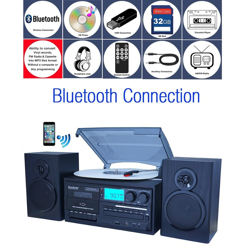 Boytone BT-28SPB, Bluetooth Classic Style Record Player Turntable with AM/FM Radio, Cassette Player, CD Player, 2 Separate Stere - Thumbnail 0