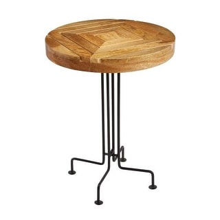 Sterling Industries 169-012 Natural Mango Wood Slatted Accent Table