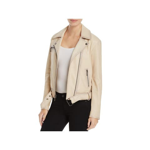 Kenneth Cole New York Womens Moto Coat Leather Long Sleeves
