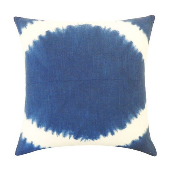 Vivai Home Indigo Pupil Tie Dye Pattern 18x 18 Square Cotton Feather Pillow - Dark blue